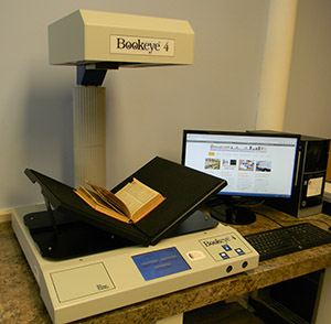 bound book, overhead camera scanning, cradle book scanner